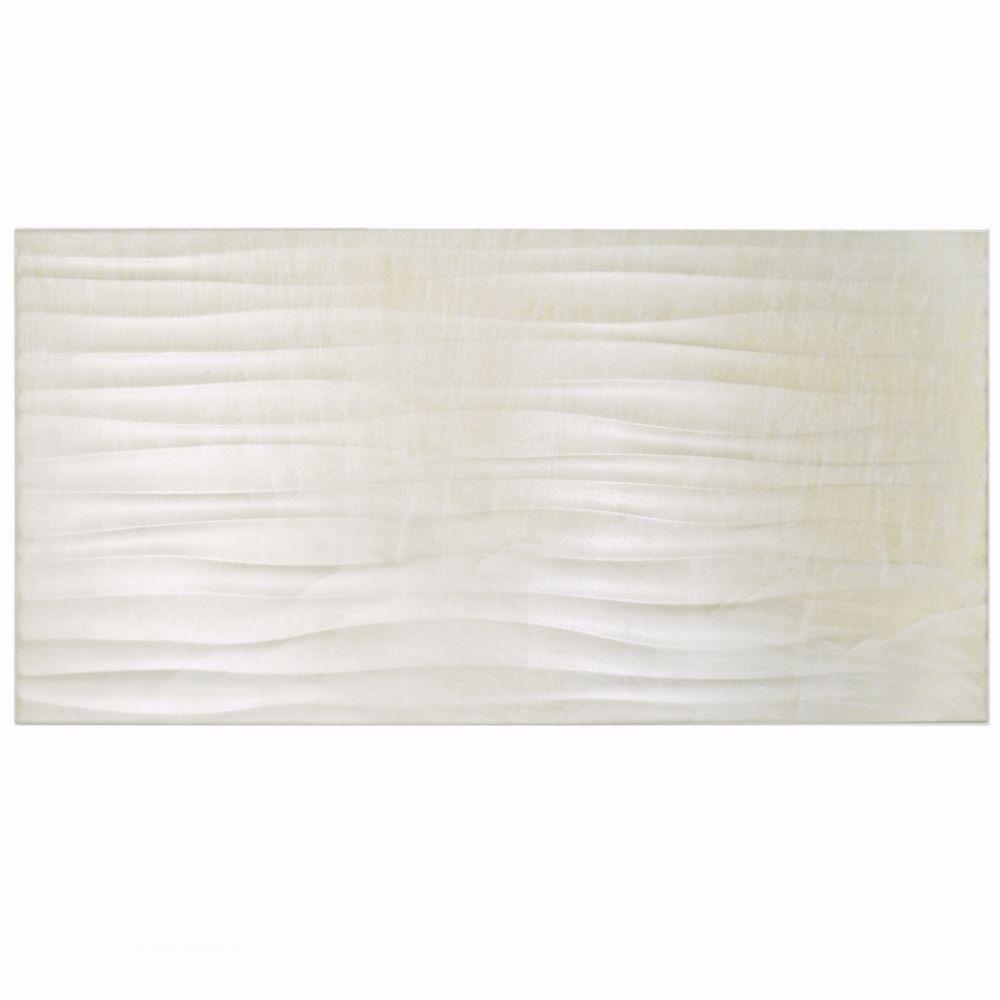 Merola Tile Deco Dubai Pearl 12-1/2 in. x 24-1/2 in. Porcelain Wall ...