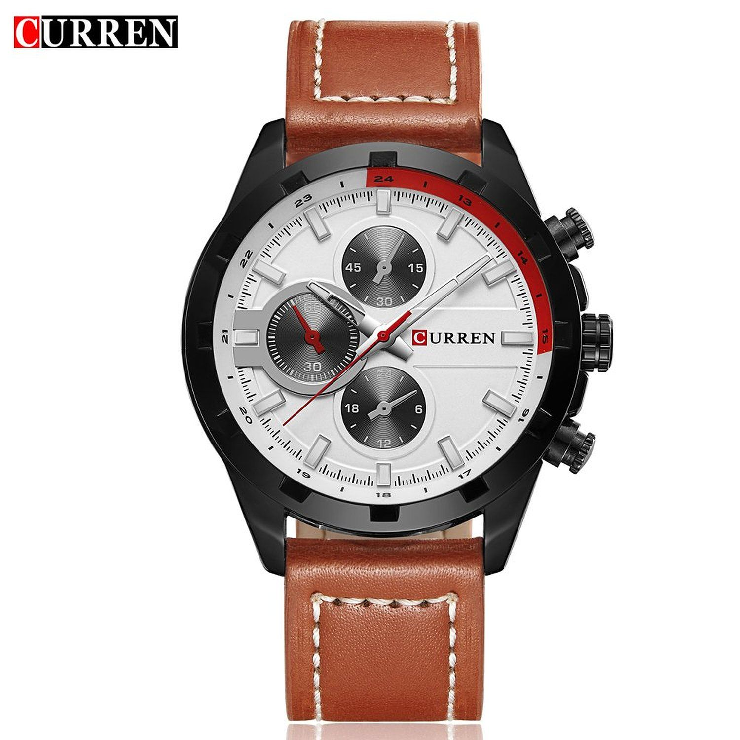 52da6b8e64bd Amazon.com  CURREN 8216 Men s Fashion Casual Military Quartz Wrist Watch  with White Dial Brown Leather Strap  Watches