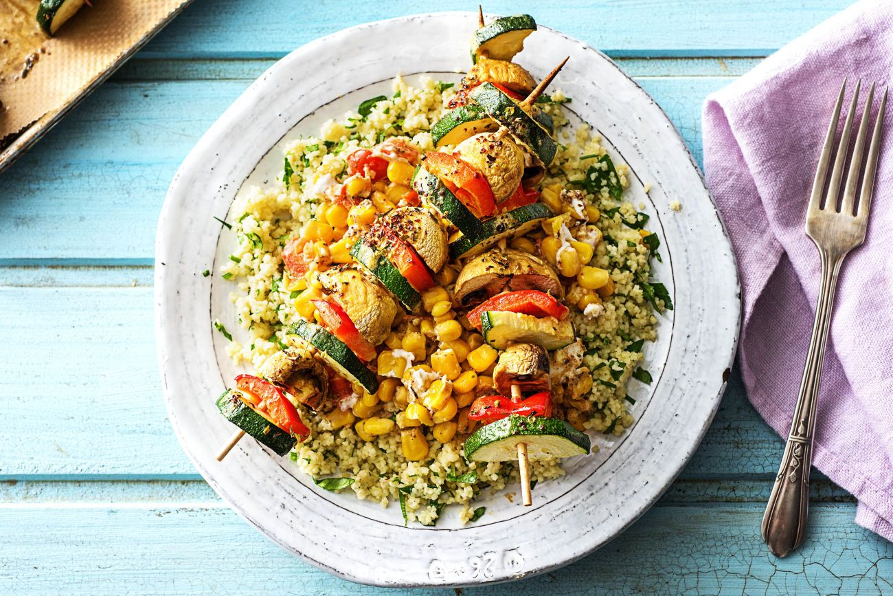Vibrant veggie skewers recipe hellofresh recipe