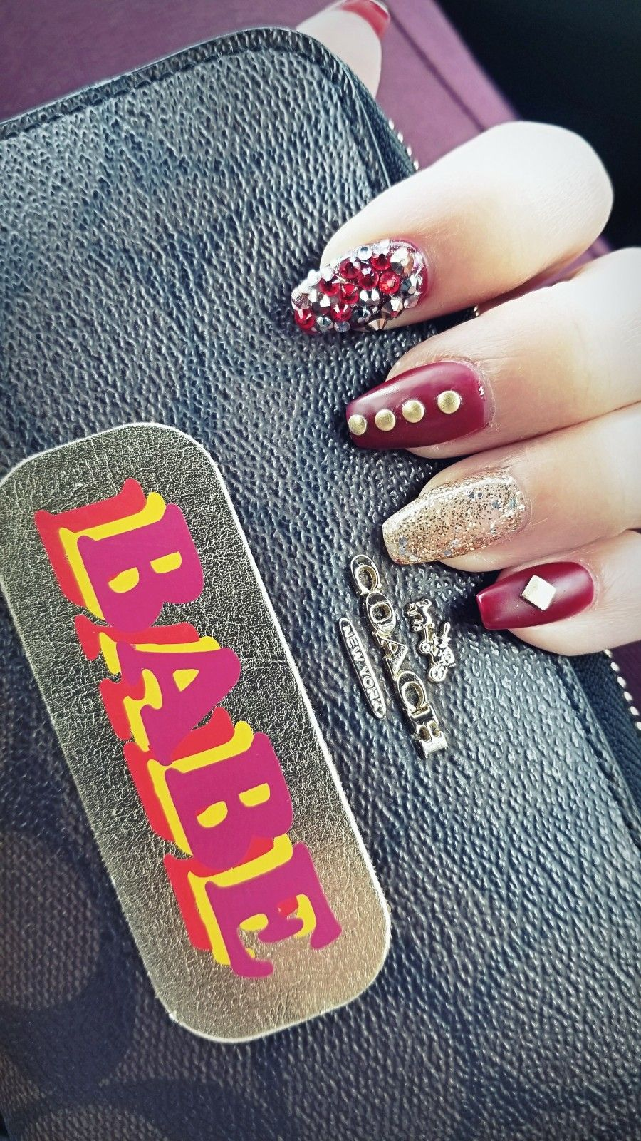 Ruby nails, crystal, rose, nail art, Autumn nails, fall colors ...