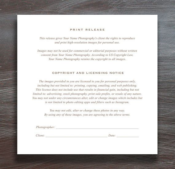 Photographer Print Release Template By Designbybittersweet