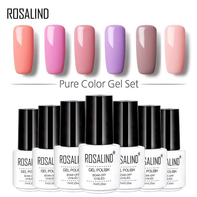Rosalind 7ml Gel Nail Polish Kit Pure Color Series Set For Manicure Uv Led Rosalind Nail Polish Pur Gel Nail Extensions Nail Polish Kits Builder Gel Nails
