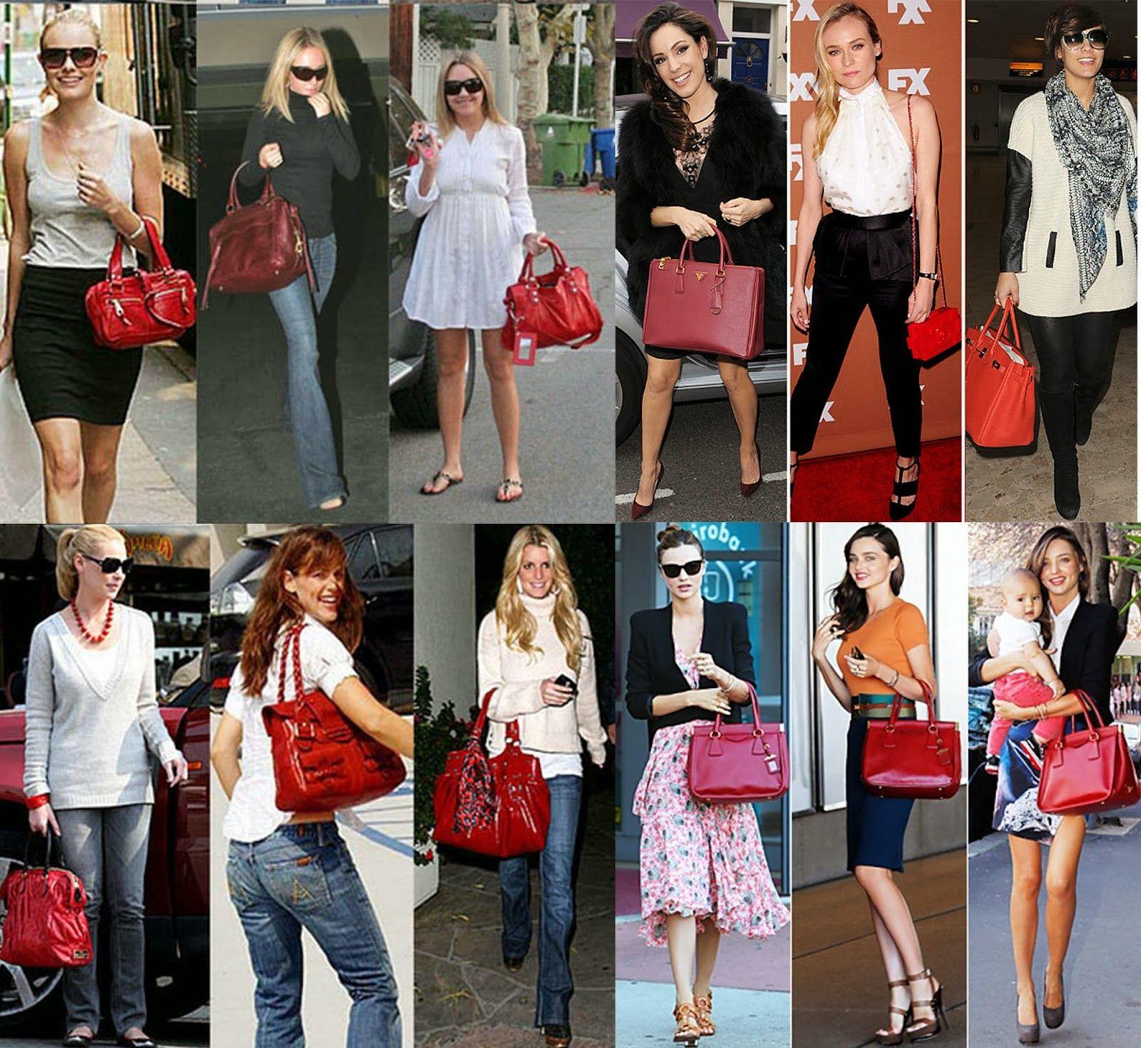 Atrizes e fashionistas usando looks variados com bolsas femininas vermelha.