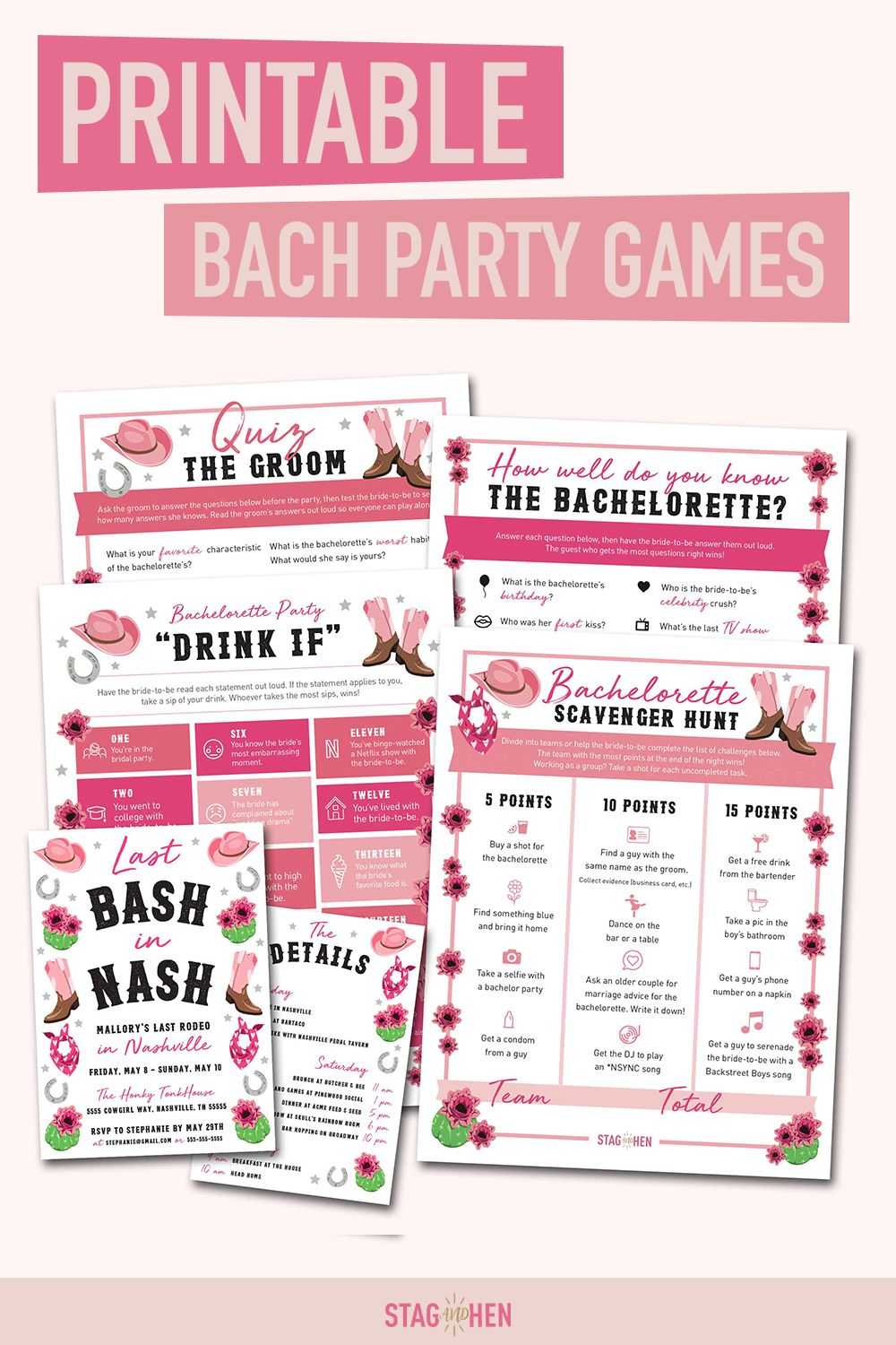 Nashville Bachelorette Party Games Printable PDFs in