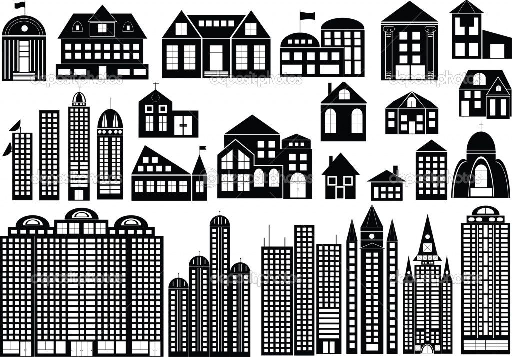 Silhouette Vector Building Silhouette Building Icon