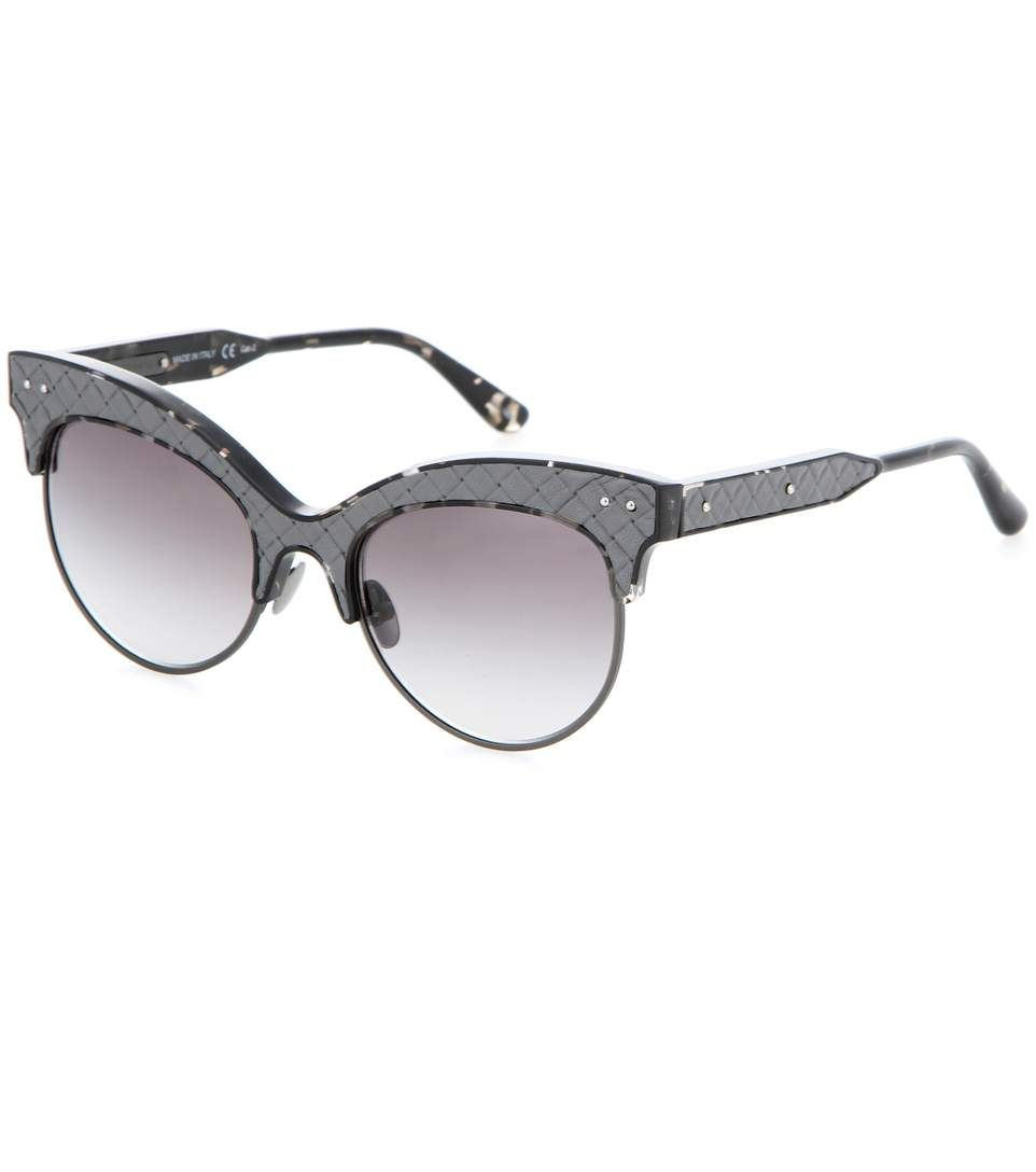 Leather-trimmed grey sunglasses