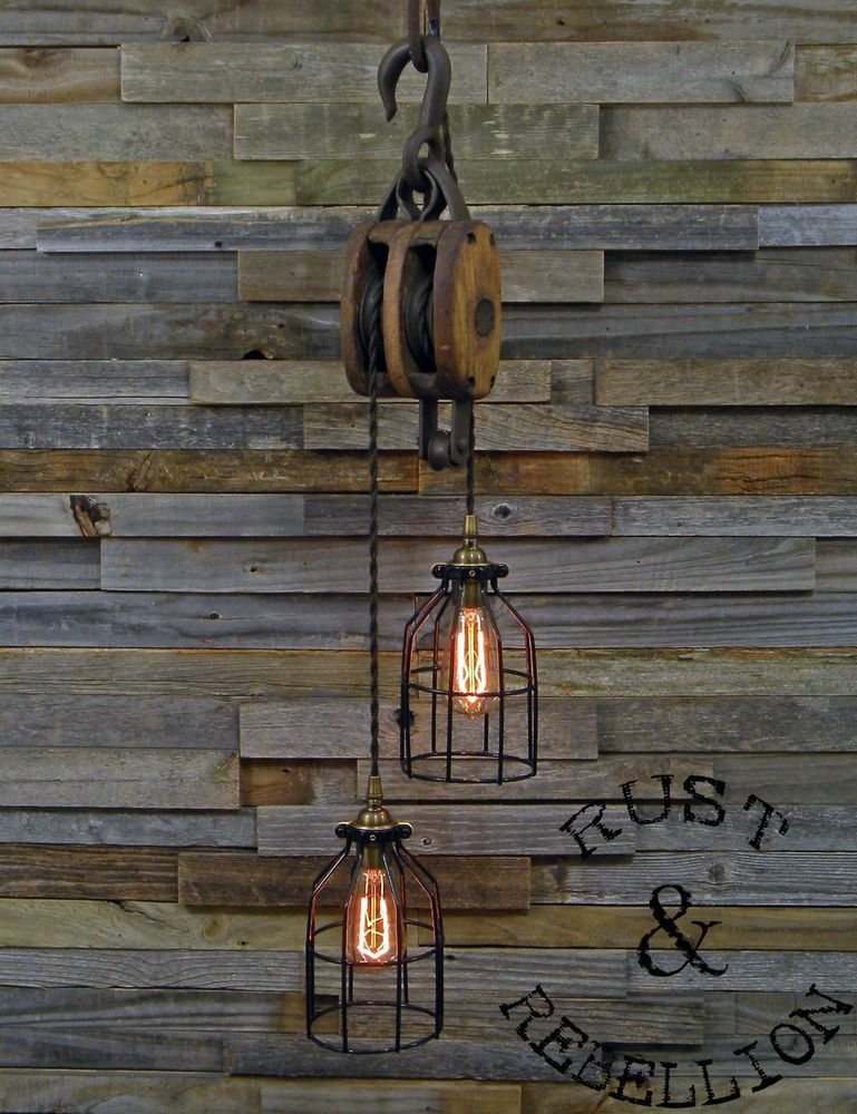 Photo of RUSTIC BARN BLOCK & TACKLE PULLEY PENDANT LAMP LAMP STEAMPUNK ANT …