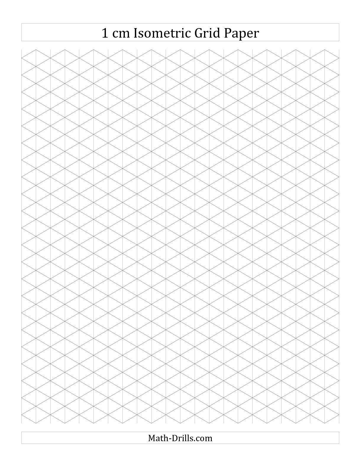 1 Cm Isometric Grid Paper (Portrait) (A) Math Worksheet #freemath  Graph Paper Word Document
