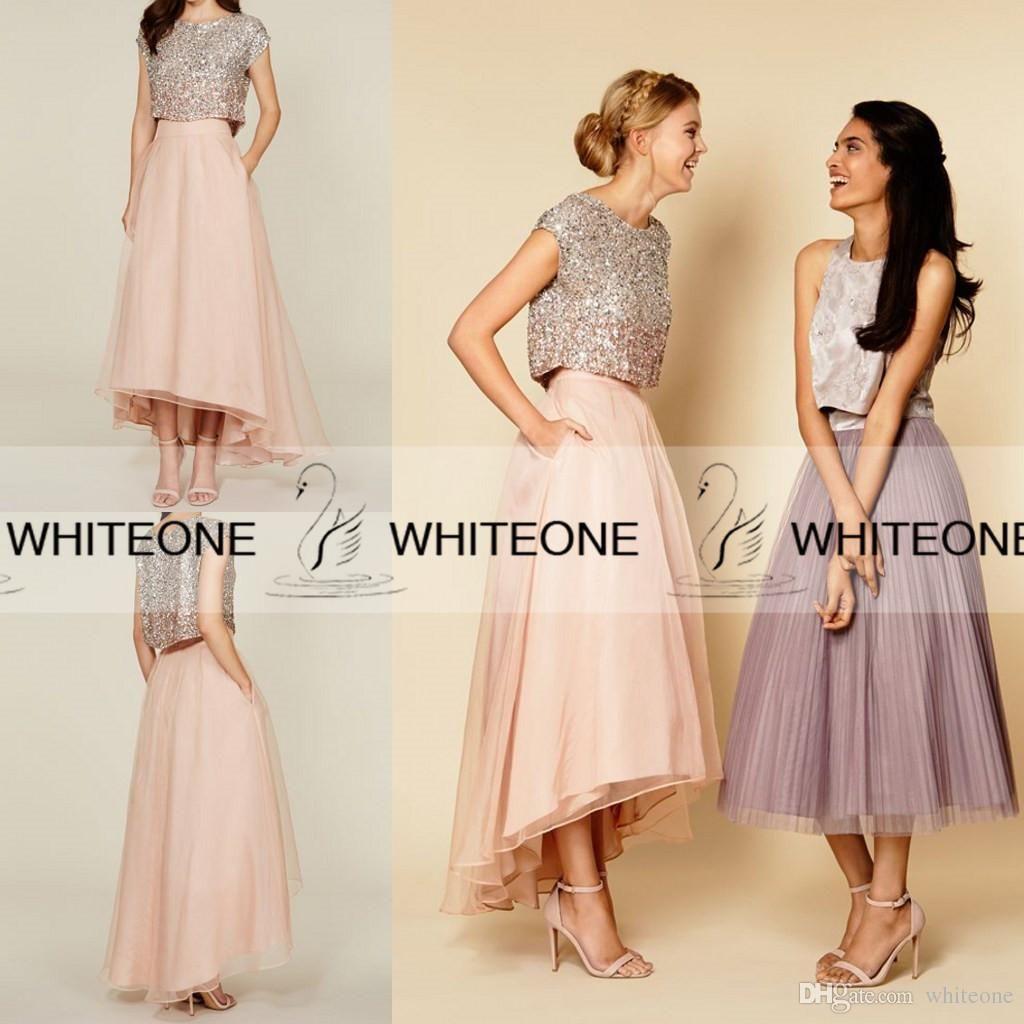 79946a689c4d7 Shiny 2015 Beach Chiffon Junior Bridesmaid Dresses Plus Size ...