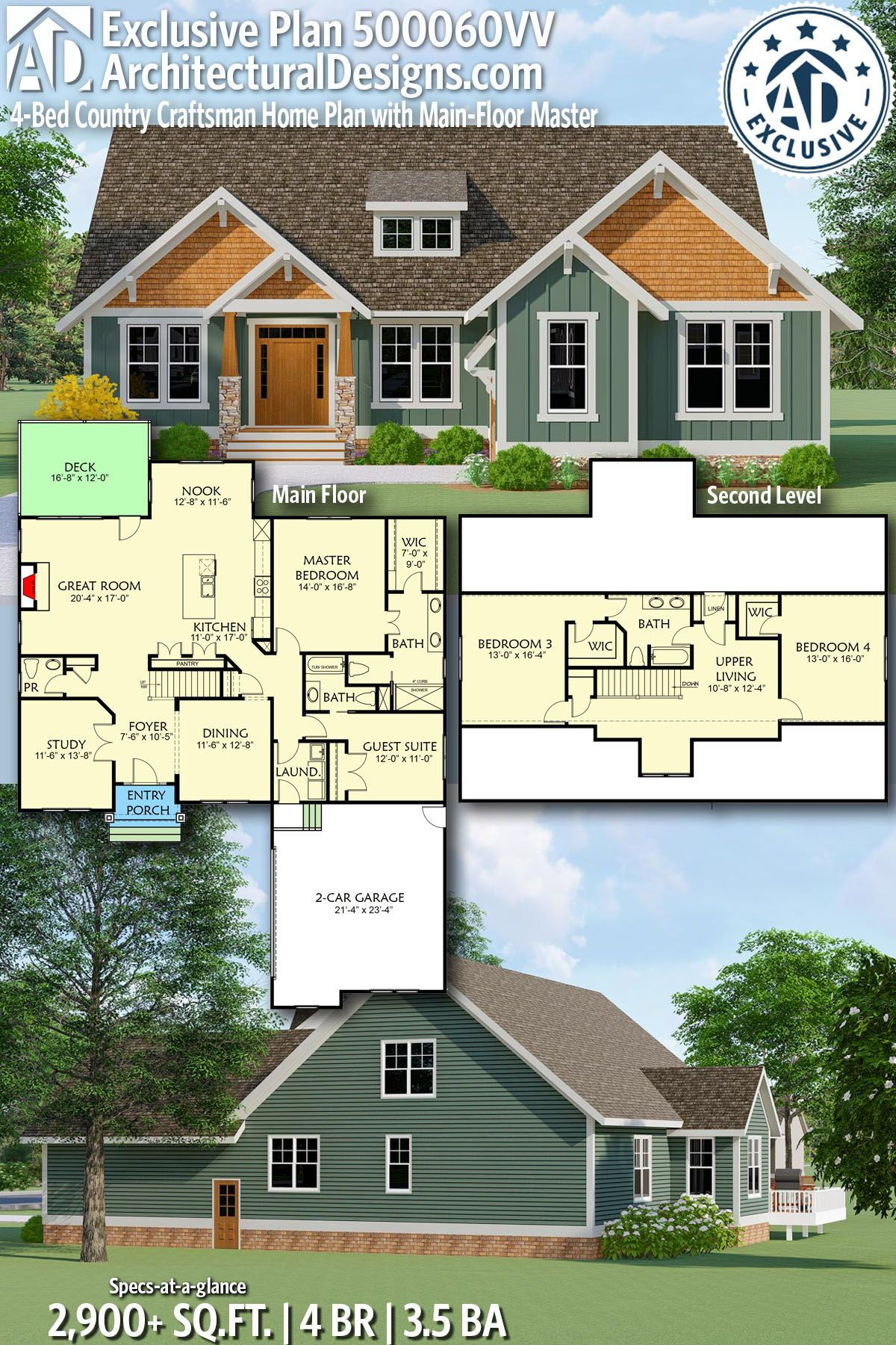 Plan 500060vv 4 Bed Country Craftsman Home Plan With Main Floor Master Craftsman House Plans House Plans Craftsman House