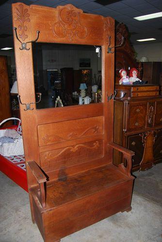 Wondrous Vintage Antique Hall Tree Halltree Mirror Bench Seat Ornate Spiritservingveterans Wood Chair Design Ideas Spiritservingveteransorg