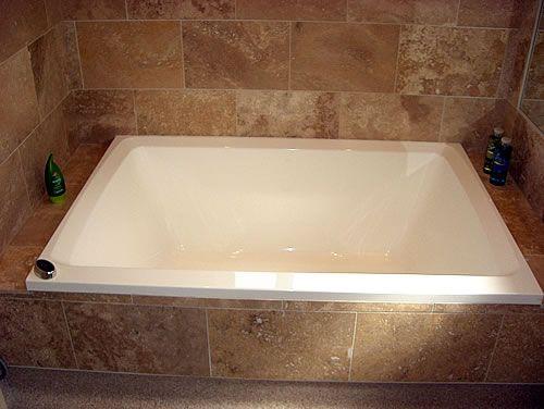 Xanadu deep soaking tub, inset in tiled setting   Home   Pinterest ...