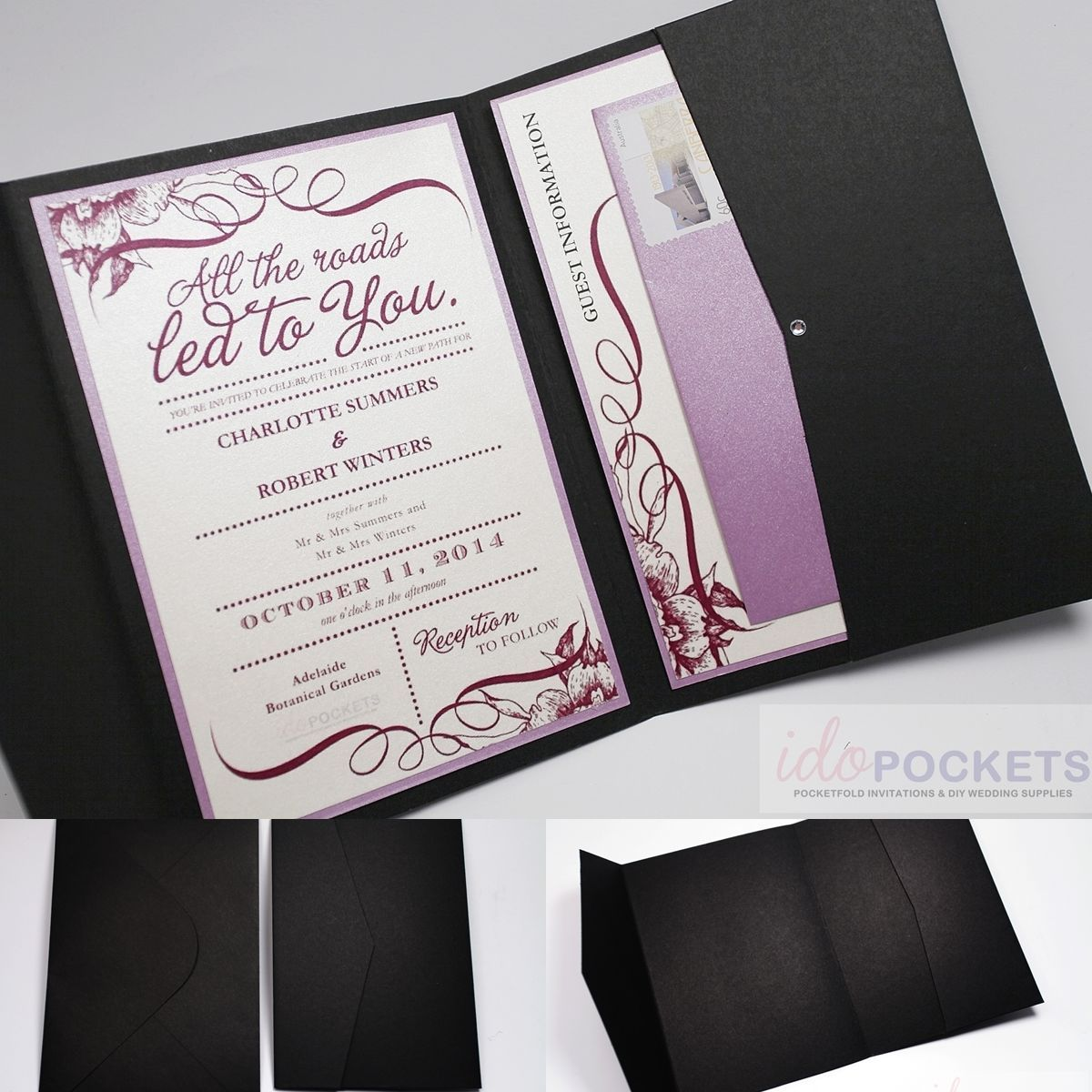 Matte black rectangle wedding invitation diy envelopes pocket ...