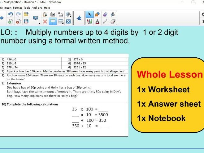 Whole Lesson - Multiplication 4 digits by 1 and 2 - applying ...