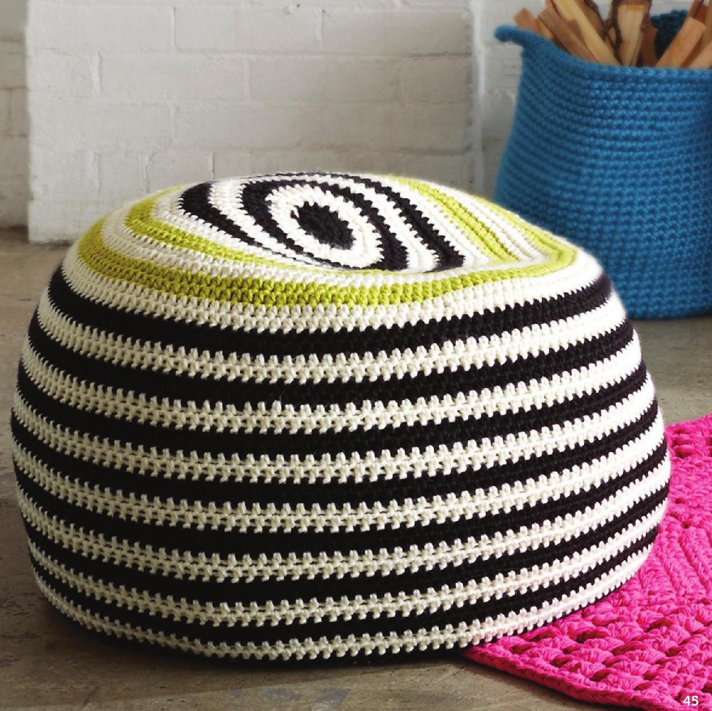 diy graphic stripes pouf crochet h keln crochet pinterest stricken h keln h keln und. Black Bedroom Furniture Sets. Home Design Ideas