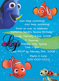 Lynn Puzzo Designs Katherine S Nemo Birthday Party Invitations