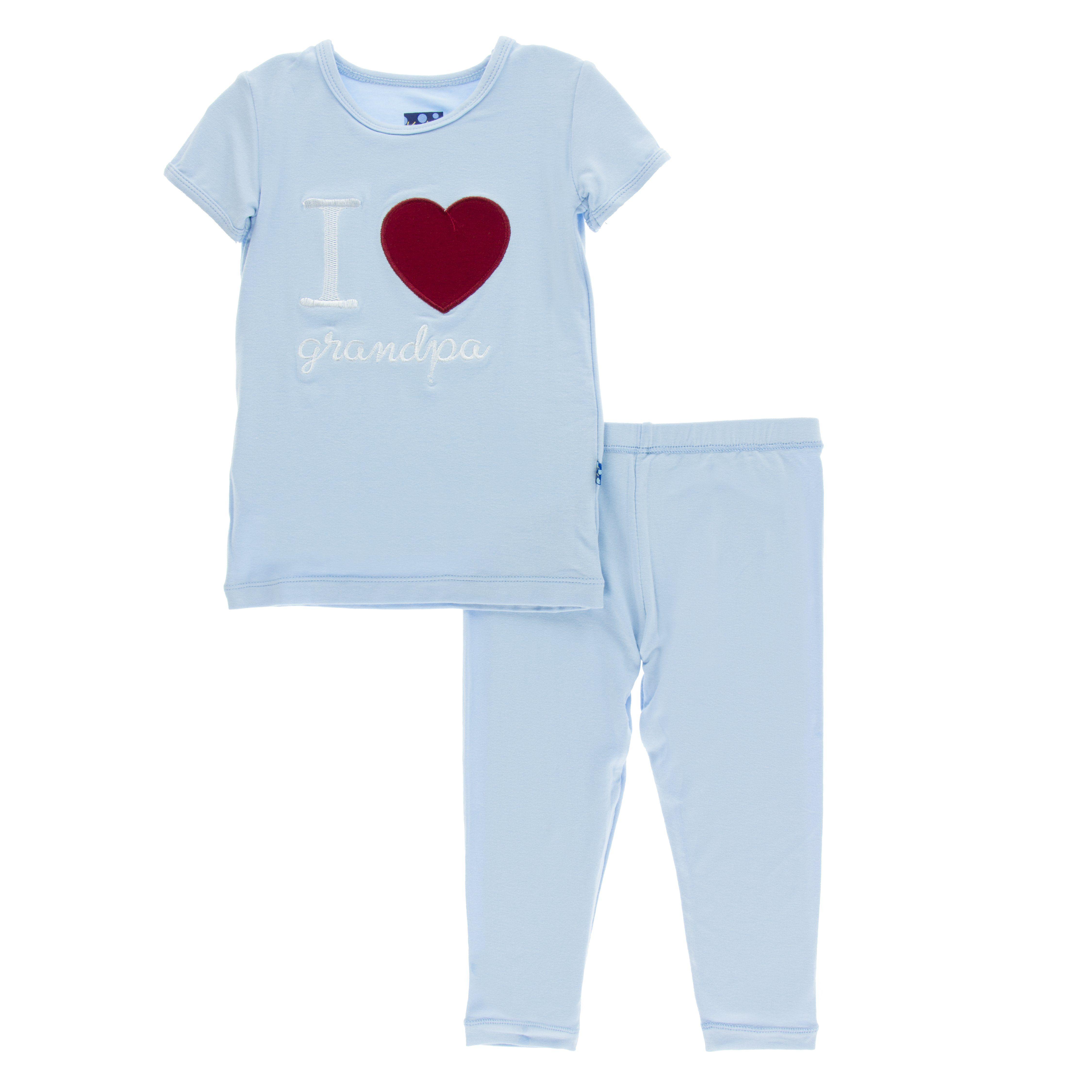 83de892a83da Kickee Pants I Love You Collection Short Sleeve Applique Pajama Set ...