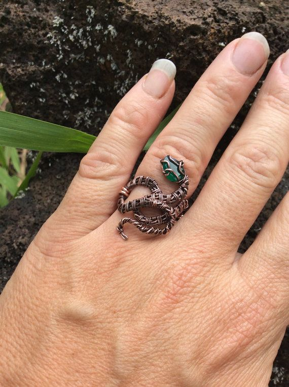 Gorgeous faceted green onyx and copper snake ring, wire wrap ring ...