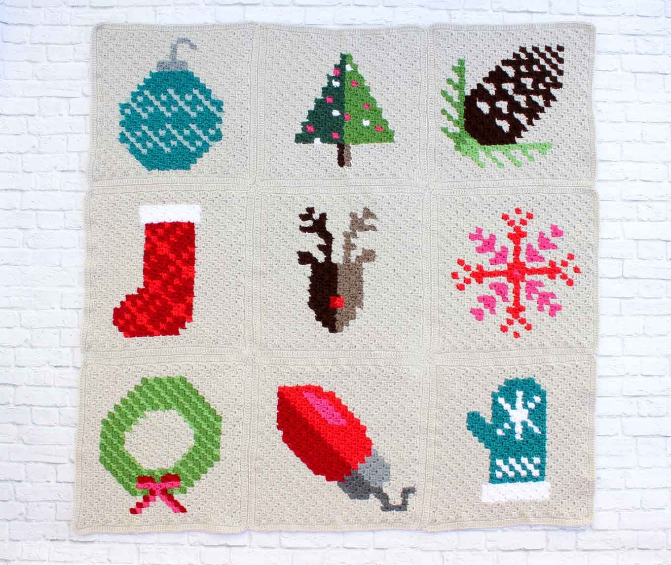 Free C2C Christmas afghan pattern sewn together using the mattress ...