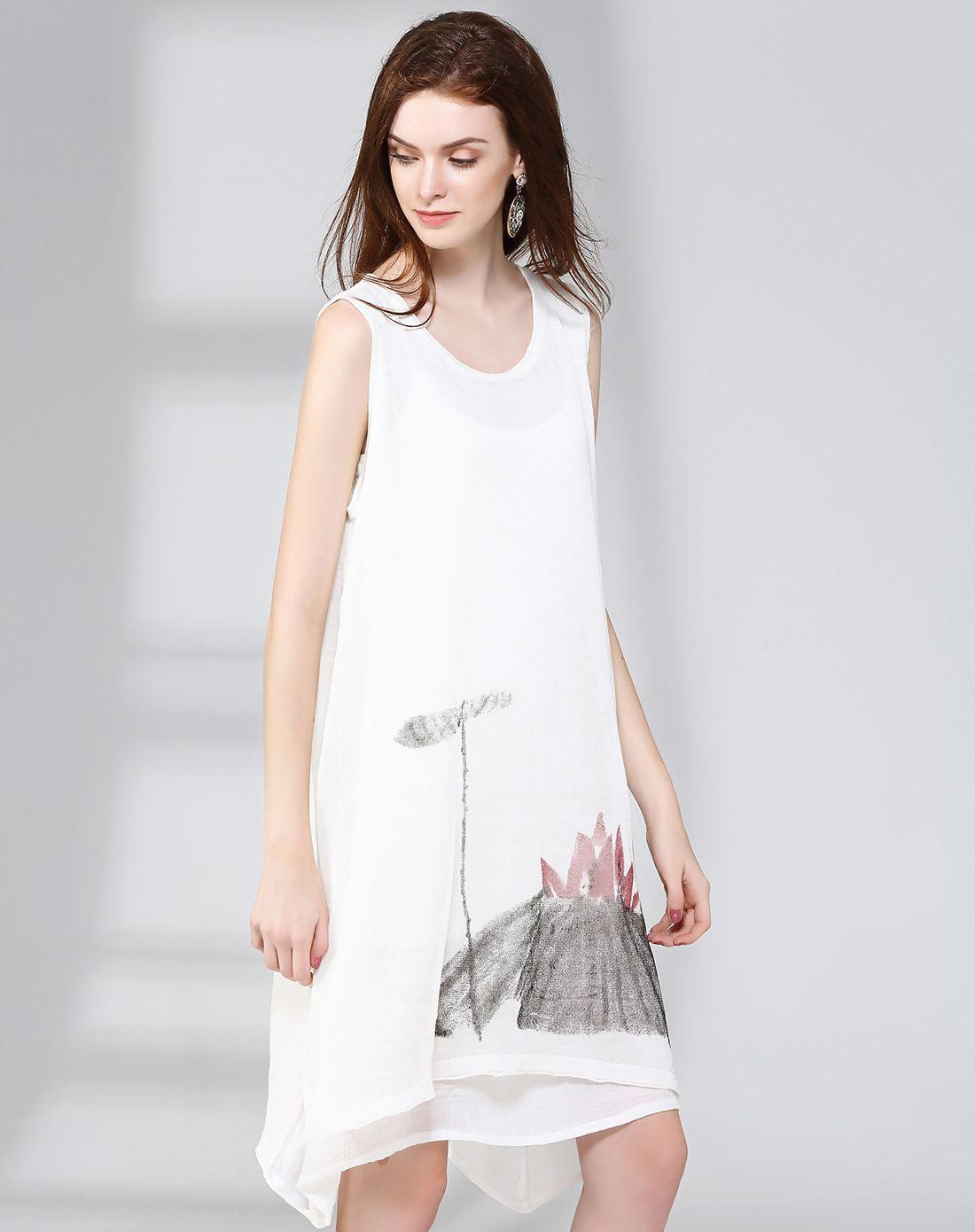 Adorewe vipme swing dressesdesigner natural house white ink and
