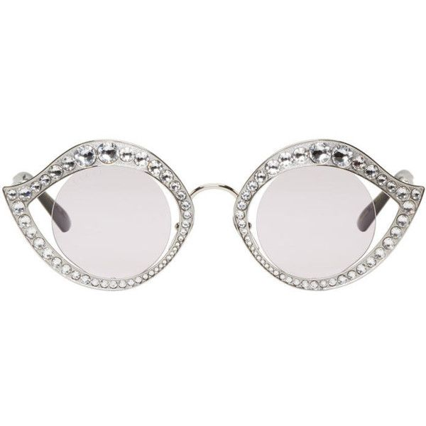 5f072166be7 Gucci Silver Crystal Cat-Eye Sunglasses ( 680) ❤ liked on Polyvore  featuring accessories