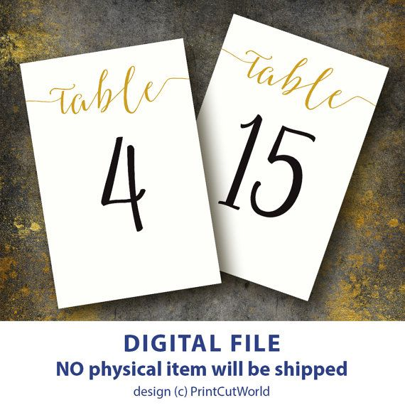Table Number Card 4x6 Wedding Table Numbers Printable 1 30 Instant