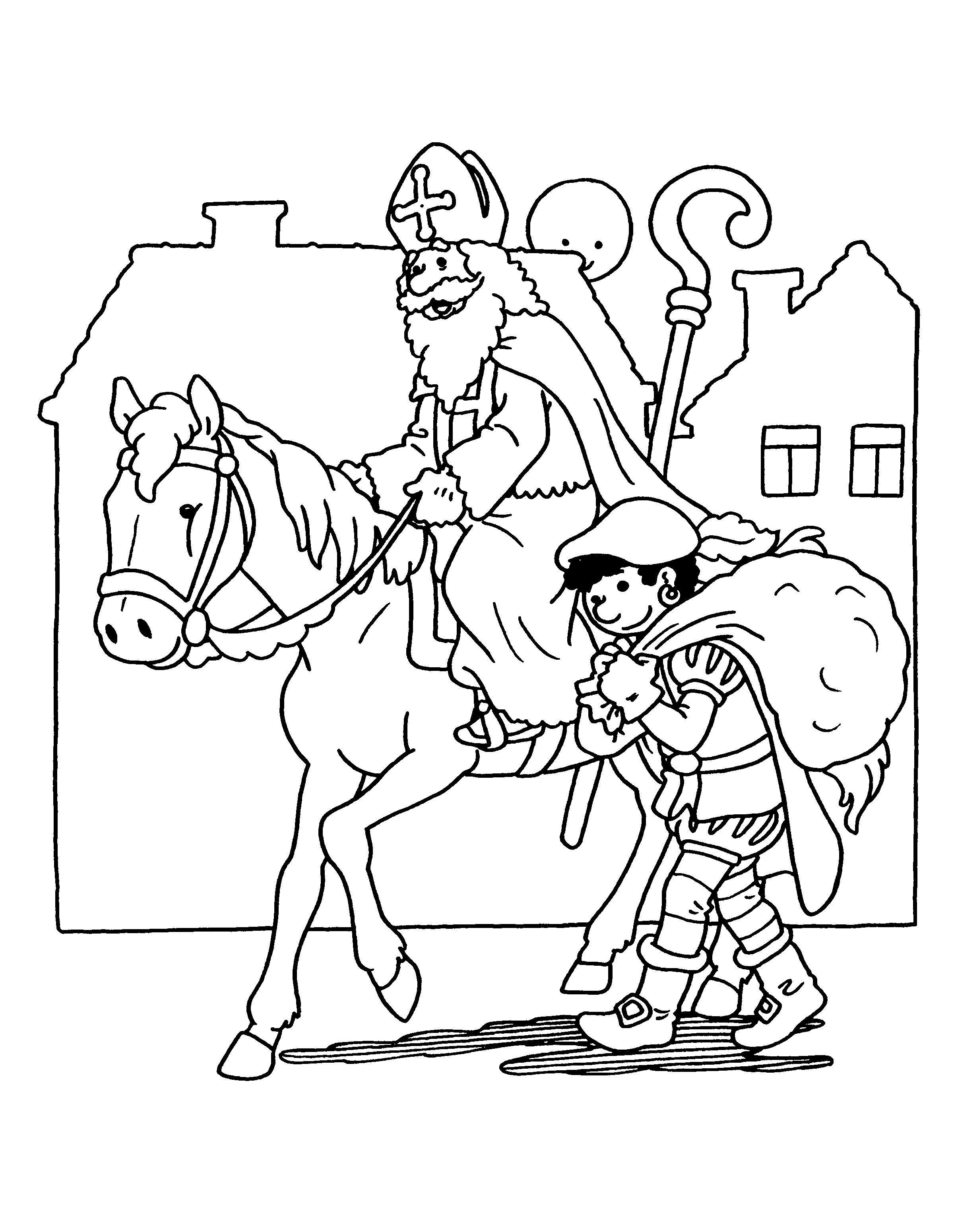 Kleurplaten Van Sinterklaas Zijn Paard.Kleurplaten Van Sint En Piet Nieuwe Kleurplaat Sinterklaas Op Zijn