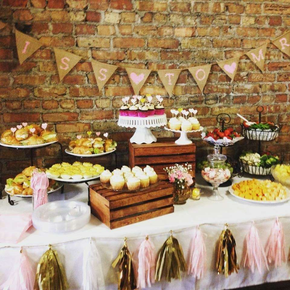 rustic table at a vintage shabby chic bridal wedding party see more party planning ideas at catchmypartycom