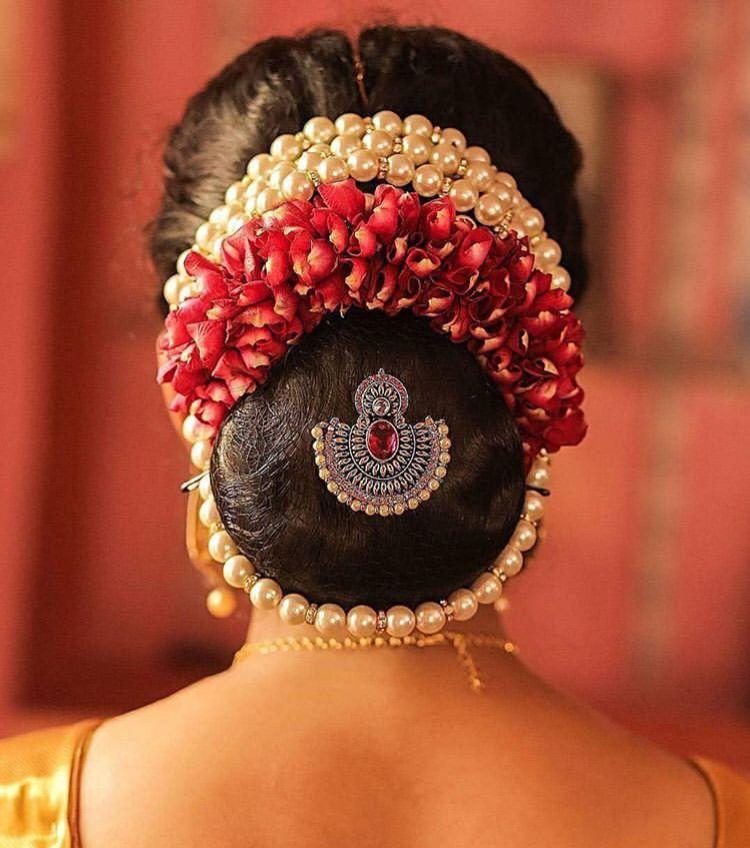 Beautiful Hair Accessory Wedding Bun Hairstyles Bridal Hair Buns Indian Bride Hairstyle