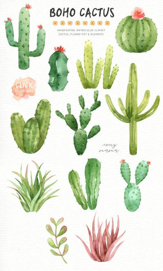 Photo of Boho Cactus Watercolor Cliparts, Boho Clipart, Botanical Plant, Tropical Clipart, Cactus Pack, Succulent Wedding Invitation, Cactus Wall Art
