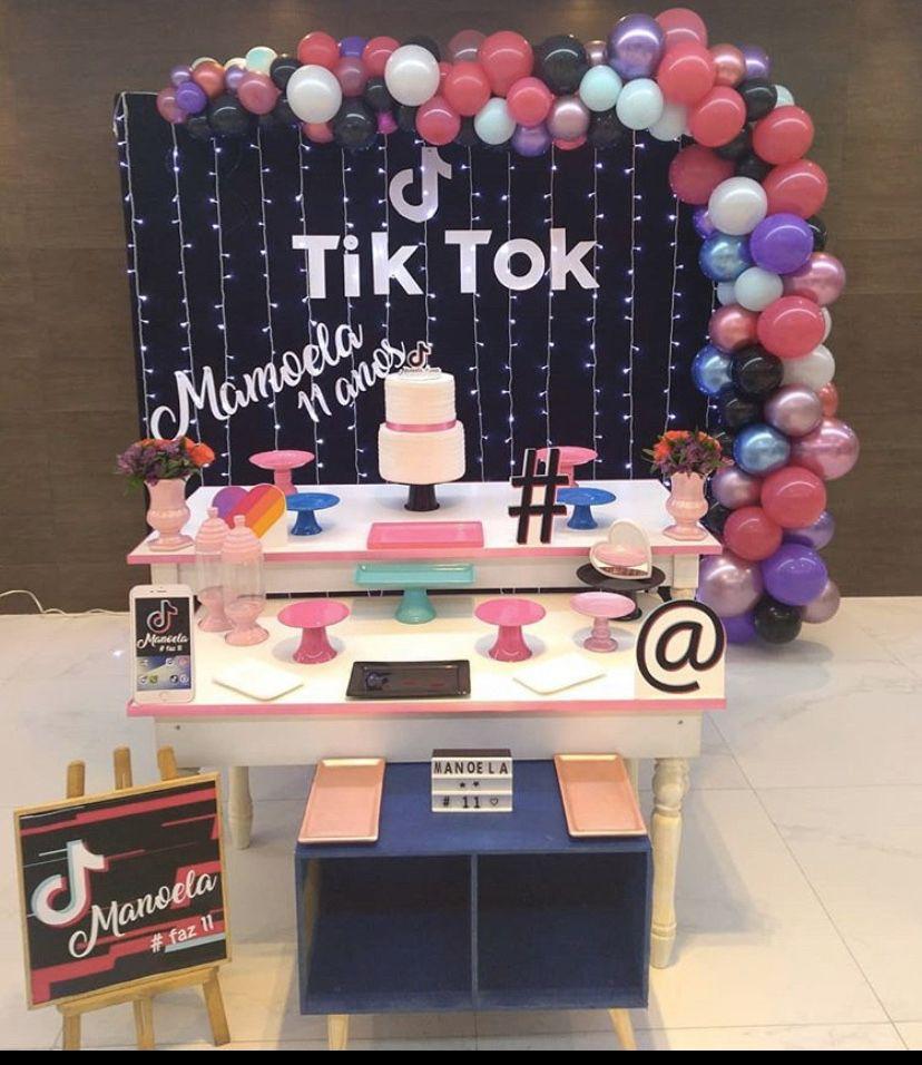 Pin By Vanessa Silva On Cake Tick Tok Birthday Party Decorations Bday Party Kids Sleepover Birthday Parties
