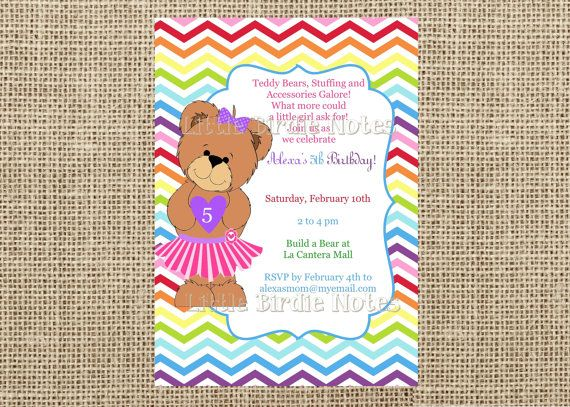 Teddy bear invitation build a bear birthday girl birthday invite items similar to teddy bear invitation build a bear birthday girl birthday invite casbury lane on etsy filmwisefo
