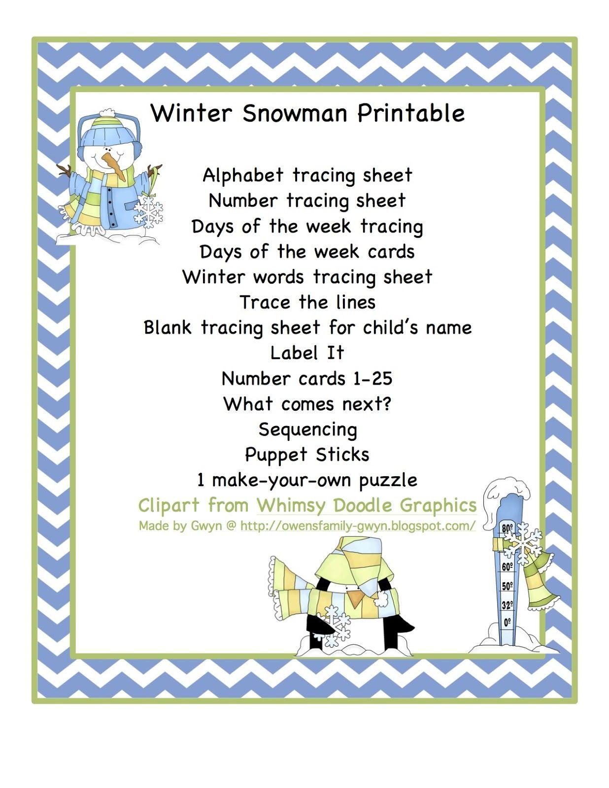 Winter Snowman Printable