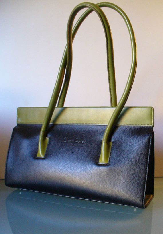 Cleo Patek Paris Leather Chartreuse And Black Shoulder Tote