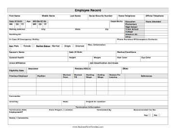 This Printable Employee Record Has Spaces For Contact Information