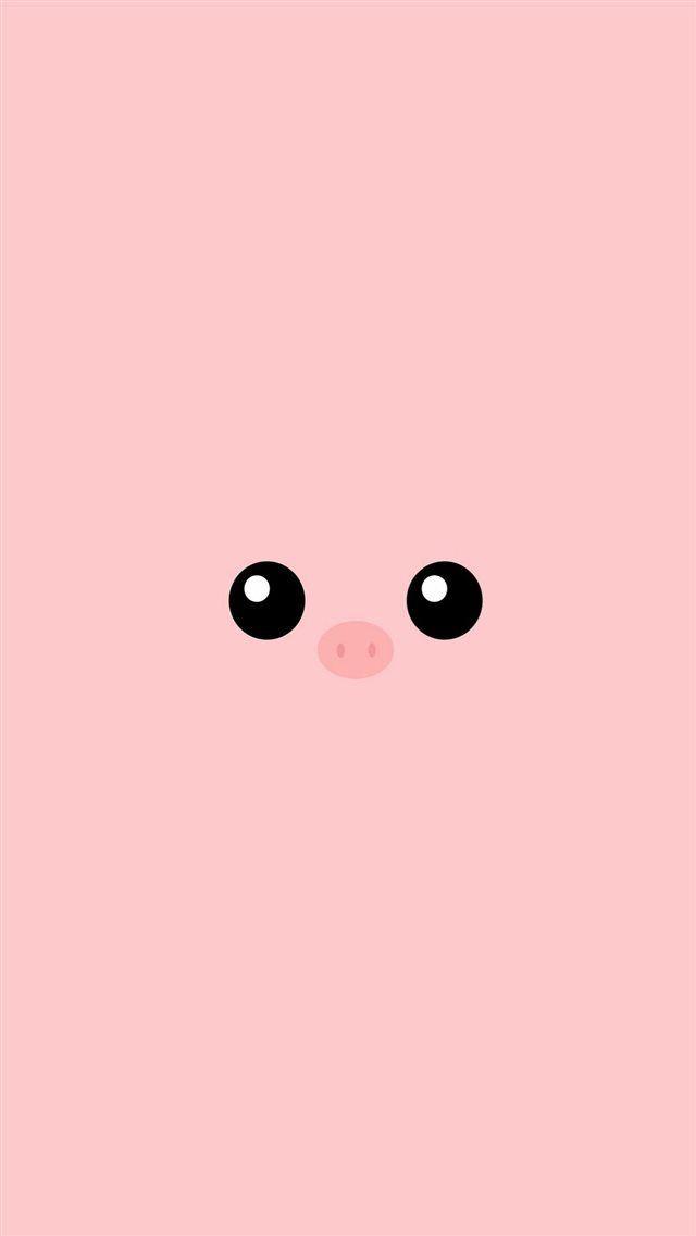 Minimal Pink Piggy Cute Eyes Iphone 8 Wallpapers Sfondi Iphone