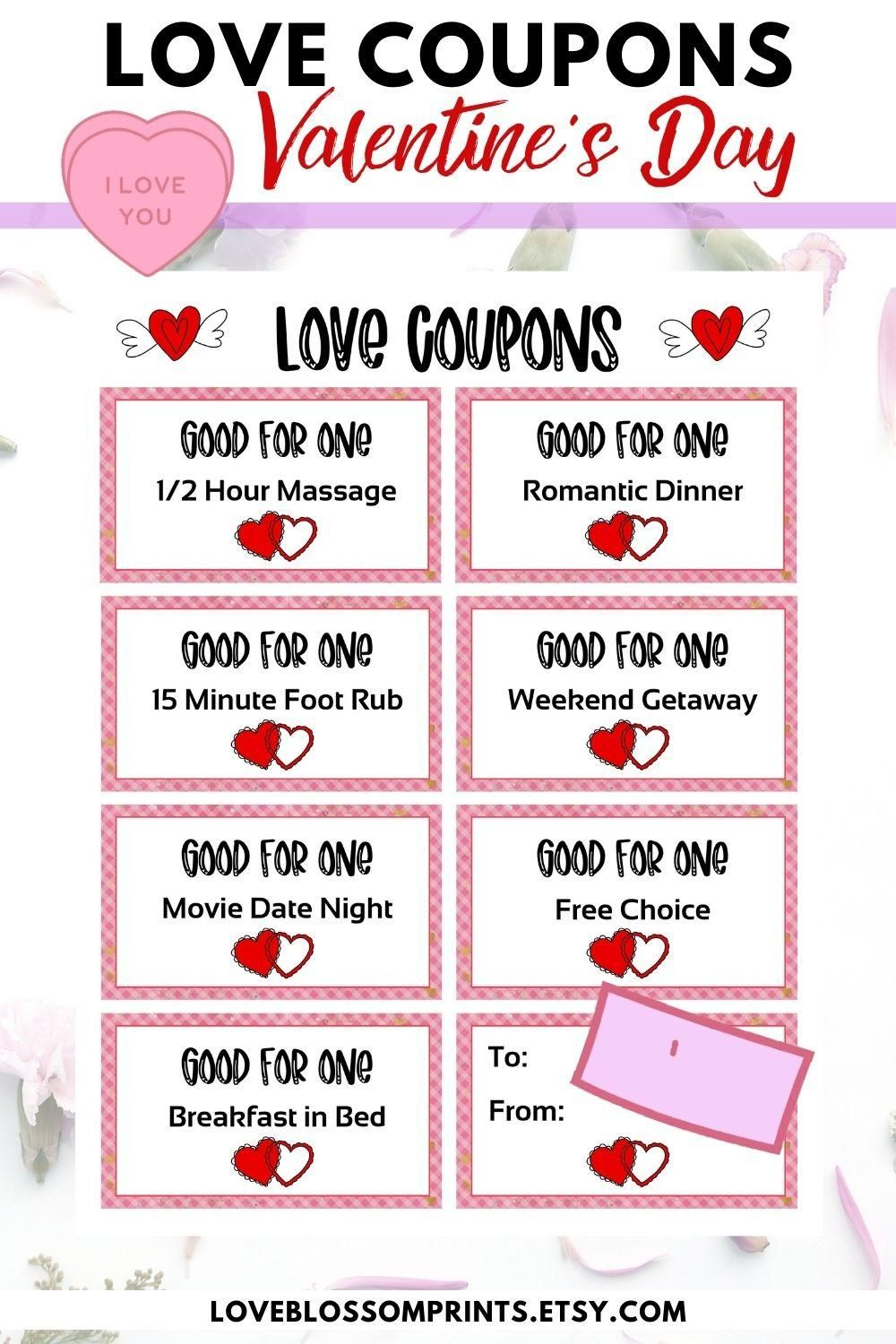 Valentine S Day Love Coupons For Couples Anniversary Gift Coupons Love Coupons For Him Love Coupons For Her Printable Love Coupon Book Video Video In 2021 Diy Valentine Gifts For Boyfriend Diy