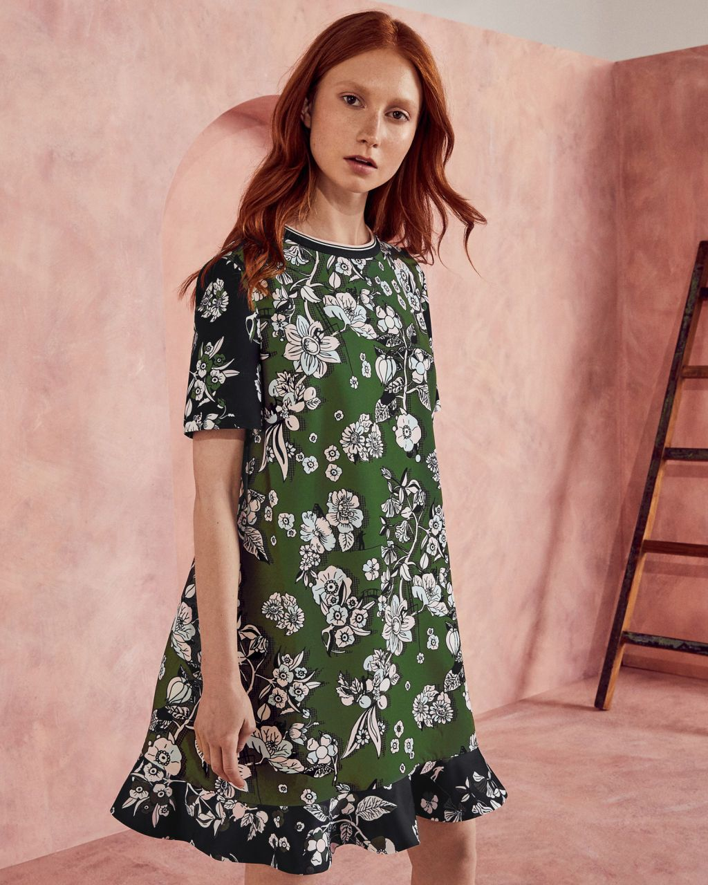 Green dress ideas  Ted Baker Floral print frill hem dress Green  Floral and Printing