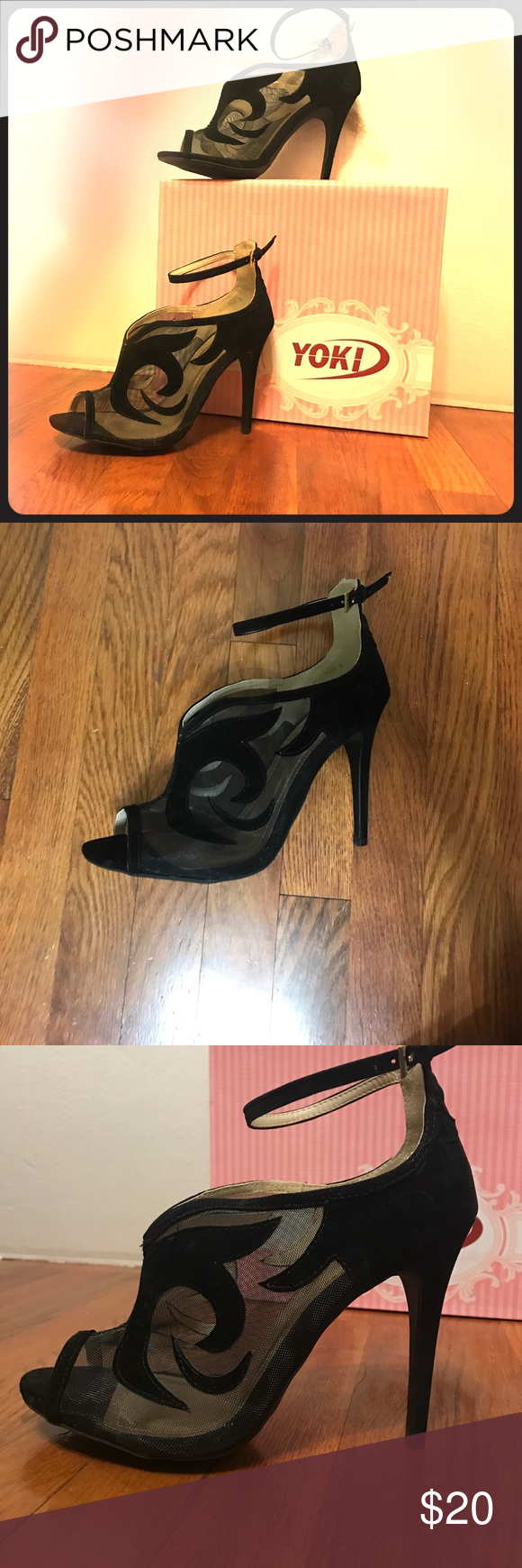 YOKI Shoe Style: Adelpha                                                           Color: Black                                                                            Material: Suede and Mesh                                                      Size: 8 Yoki Shoes Heels