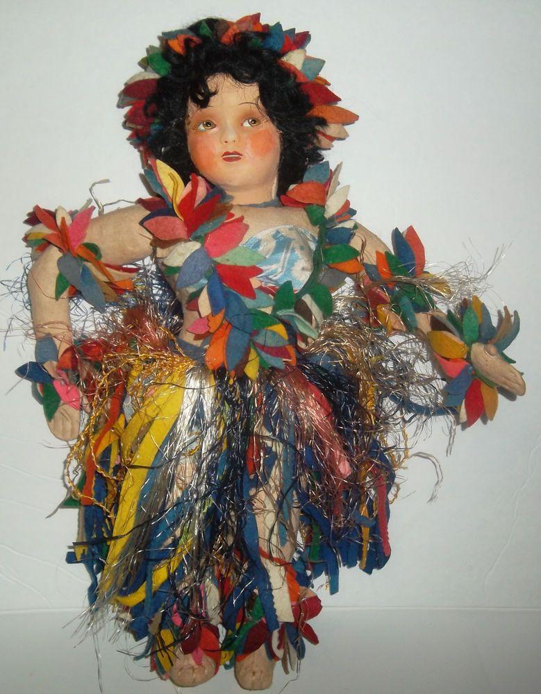 Vintage Cloth Lenci Face Doll - Hawaiian