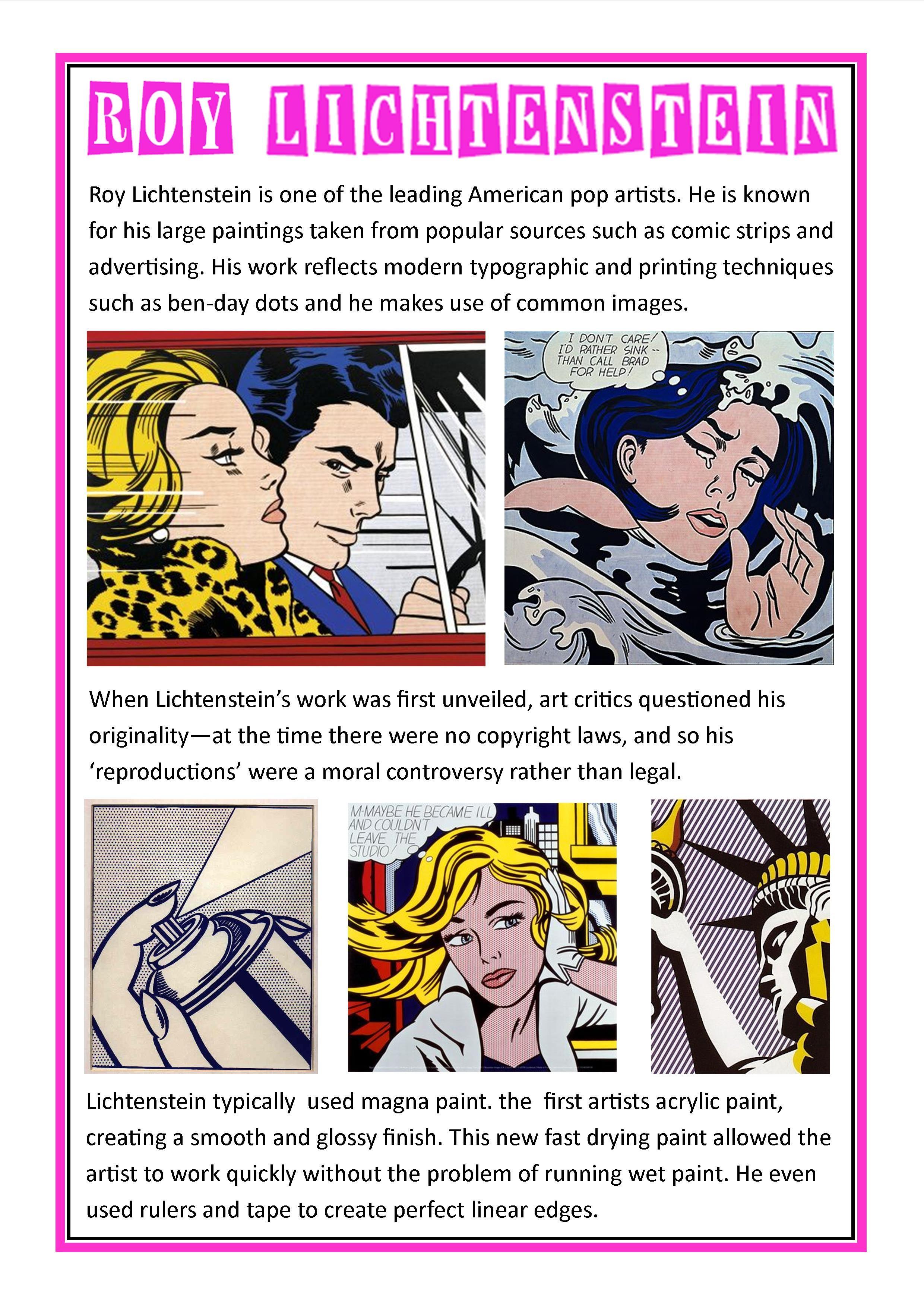 Roy Lichtenstein 1 Lichtenstein pop art, Roy