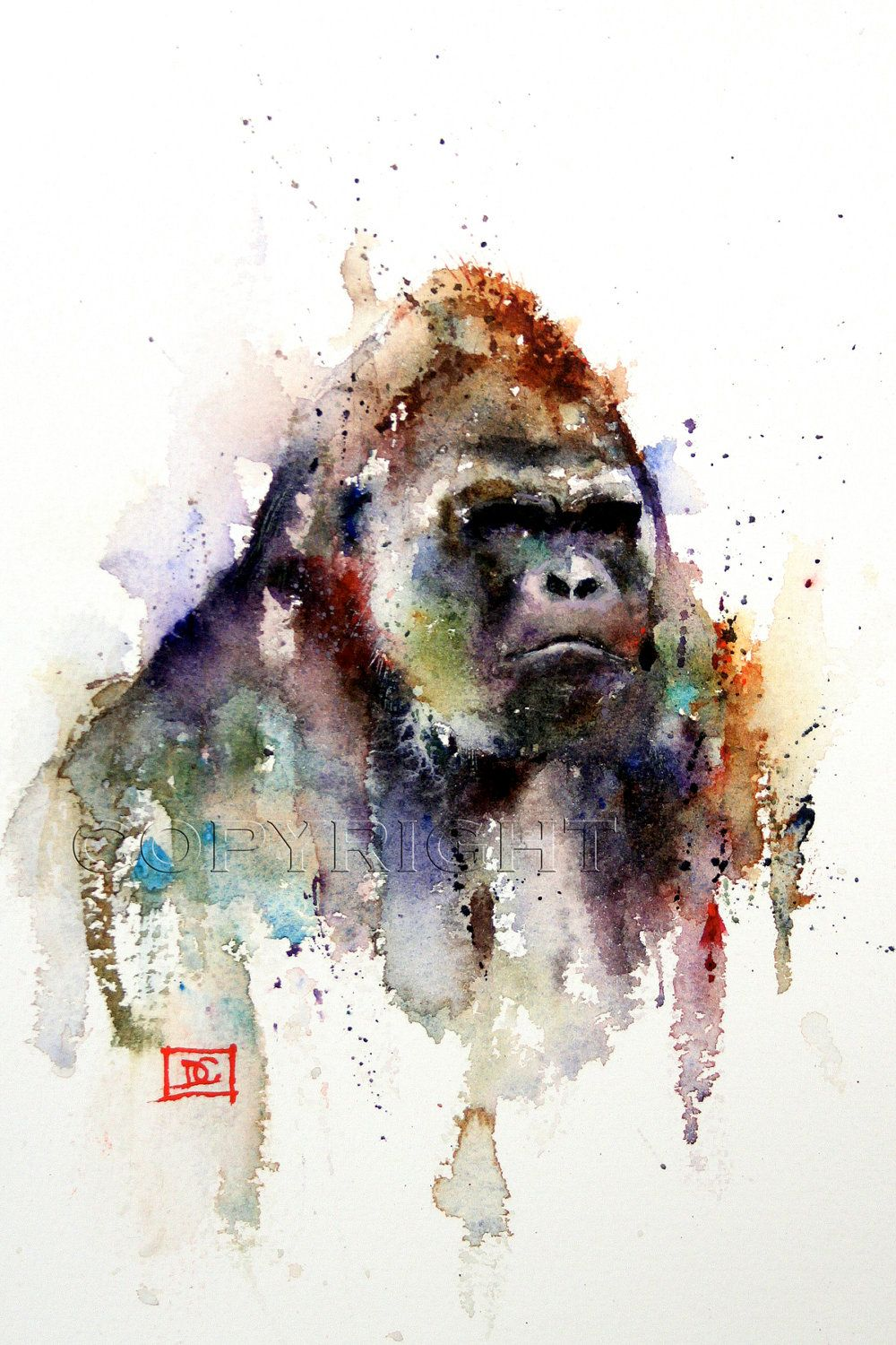 Gorilla Abstract print painting limited edition signed