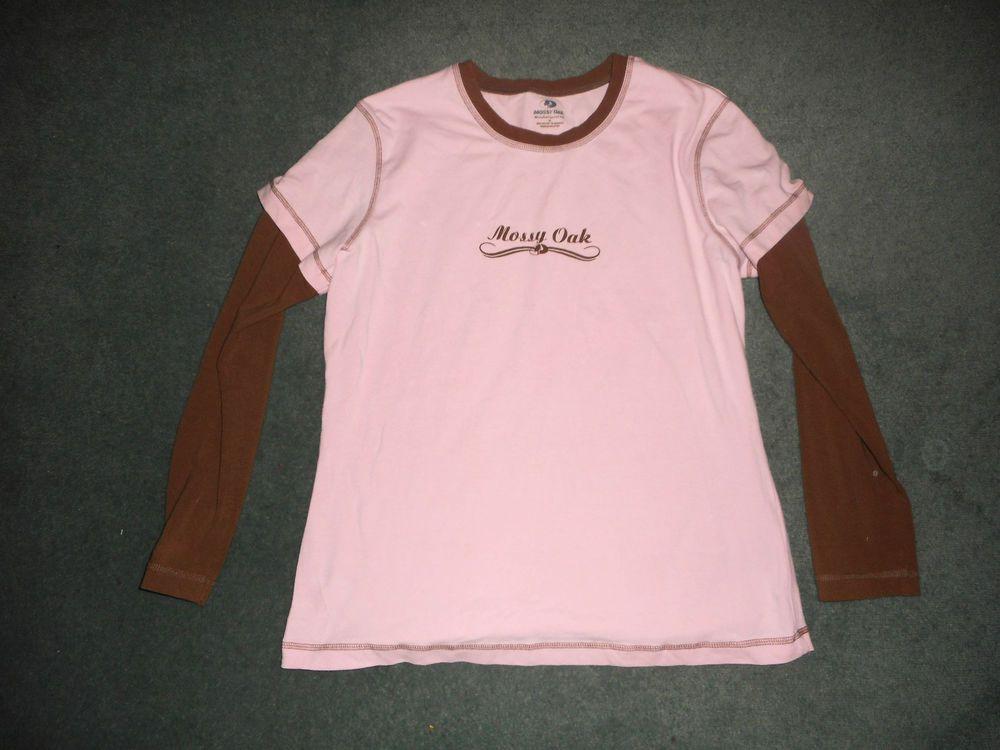 Women's Brown & Pink MOSSY OAK Logo Long Sleeve Shirt, Size 2X, Good Shape! #MossyOak #CrewNeckPullOverLongSleeveShirt #Casual