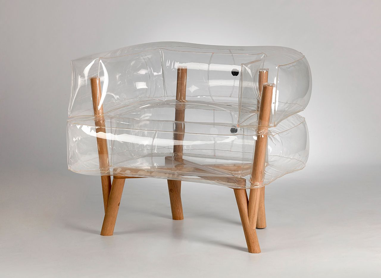 blow up furniture. An Inflatable Chair With A Wooden Base That Rethinks The Entire Idea Of Flat-packed Furniture New Materials, Making It Look Cool And Comfortable. Blow Up