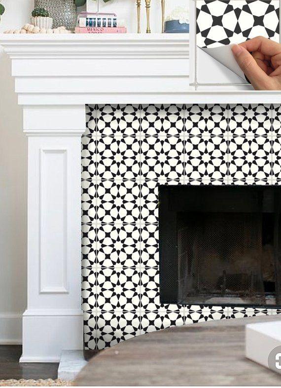 Tile Sticker Kitchen Bath Floor Fireplace Waterproof Etsy Tile Stickers Kitchen Fireplace Tile Stick On Tiles