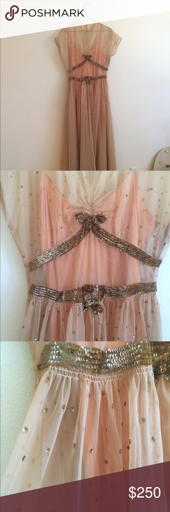 Vintage s s ball gown and removable slip chiffon gown