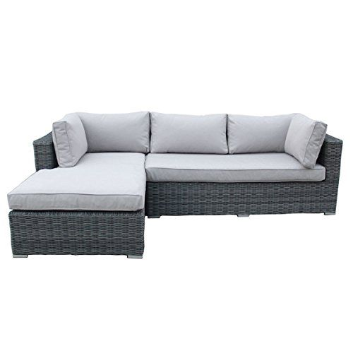 Charles Bentley Garden Deluxe Rattan L Shape Sofa Showerproof with