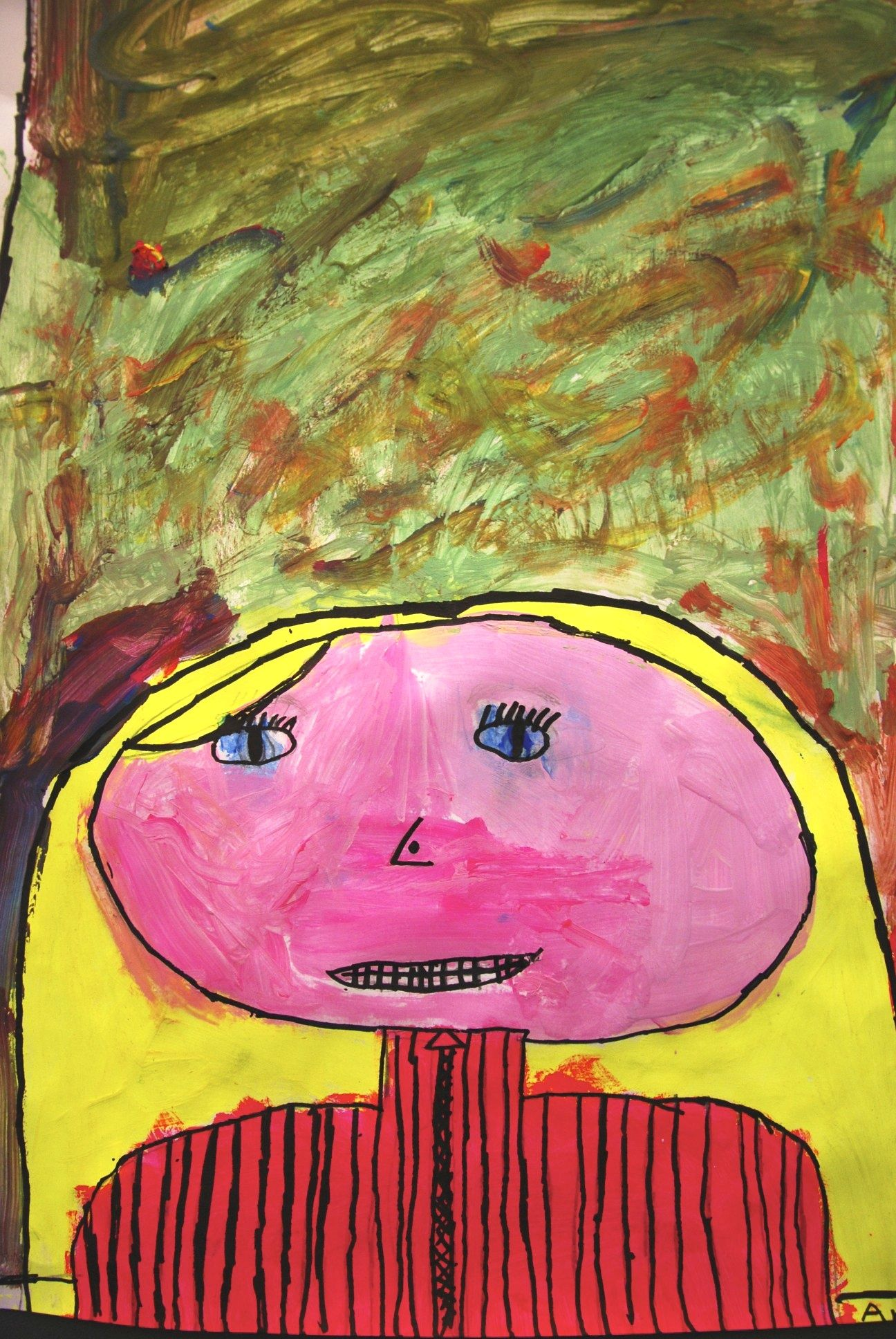 Self portrait by 9 year old child. Art class with Anne ...