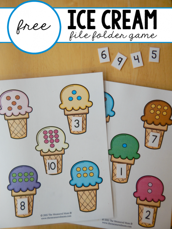 Free File Folder Game For Preschoolers Ice Cream Count Match 1