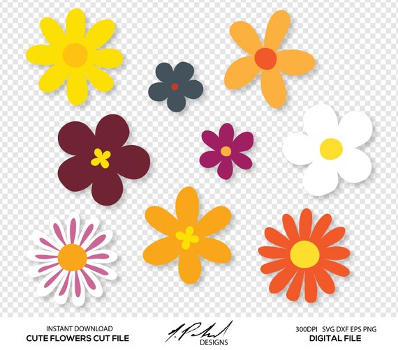 Pin By Etsy On Products Flower Svg Flower Clipart Vinyl